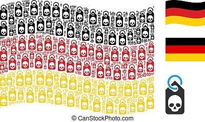 Waving Germany Flag Pattern of Death Skull Tag Items