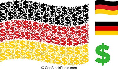 Waving Germany Flag Pattern of Dollar Items