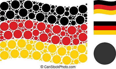 Waving Germany Flag Pattern of Filled Circle Items