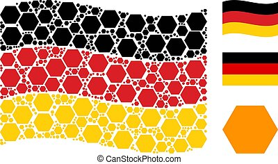 Waving Germany Flag Pattern of Filled Hexagon Items