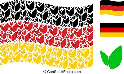 Waving Germany Flag Pattern of Floral Sprout Items