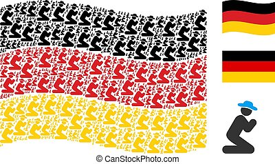 Waving Germany Flag Pattern of Gentleman Pray Items