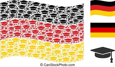 Waving Germany Flag Pattern of Graduation Cap Icons