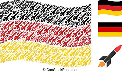 Waving Germany Flag Pattern of Missile Launch Icons