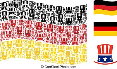Waving Germany Flag Pattern of Uncle Sam Hat Items