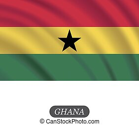 Waving Ghana flag on a white background. Vector illustration