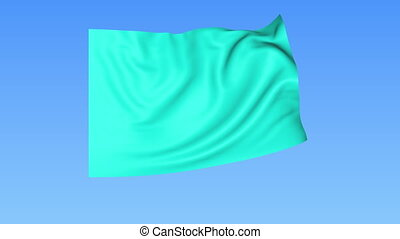 Waving glossy cian flag, seamless loop. Blue background. Part of set. 4K ProRes with alpha