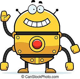 Waving Gold Robot
