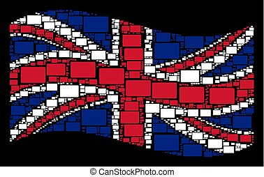Waving Great Britain Flag Collage of Filled Rectangle Items