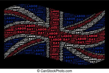 Waving Great Britain Flag Collage of Labor Day Text Items