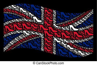 Waving Great Britain Flag Collage of Lady Shoe Items