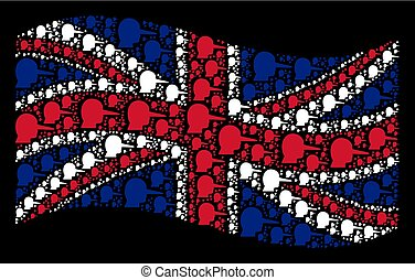 Waving Great Britain Flag Collage of Lier Items - Waving...