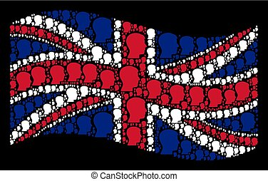 Waving Great Britain Flag Collage of Man Head Profile Items