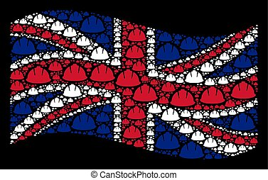 Waving Great Britain Flag Collage of Safety Helmet Icons