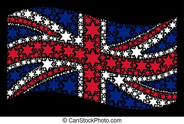 Waving Great Britain Flag Collage of Six-Pointed Star Items