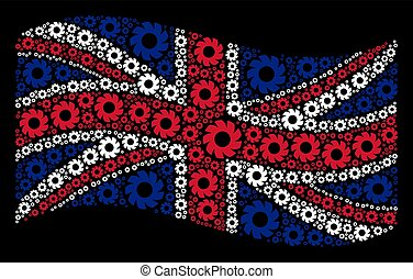 Waving Great Britain Flag Collage of Turbine Icons