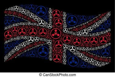 Waving Great Britain Flag Collage of WMD Nerve Agent Chemical Warfare Icons