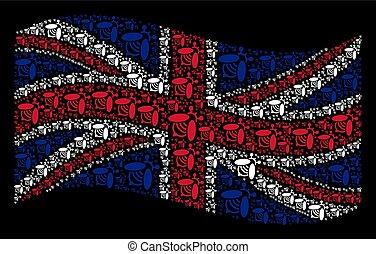 Waving Great Britain Flag Mosaic of Bee Items