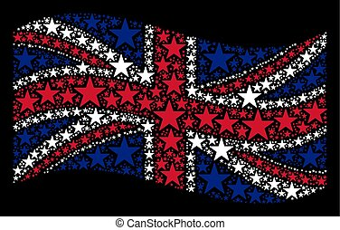 Waving Great Britain Flag Mosaic of Confetti Star Icons