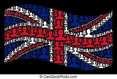 Waving Great Britain Flag Mosaic of Customer Icons