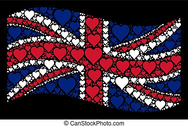 Waving Great Britain Flag Mosaic of Hearts Suit Icons