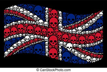 Waving Great Britain Flag Mosaic of Skull Items
