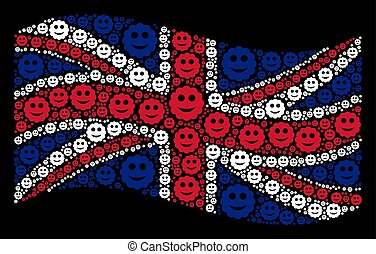 Waving Great Britain Flag Mosaic of Smiled Sticker Icons