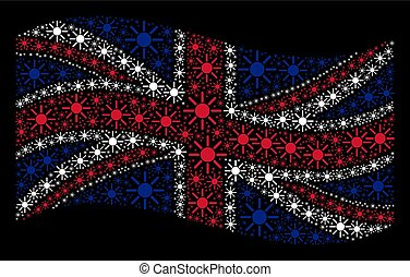 Waving Great Britain Flag Mosaic of Sun Items