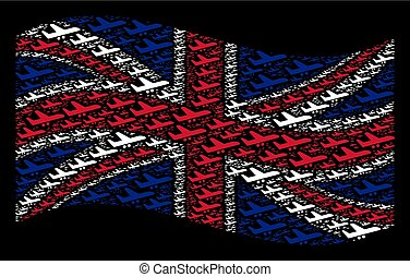 Waving Great Britain Flag Pattern of Aiplane Items