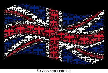 Waving Great Britain Flag Pattern of Aircraft Items - Waving...