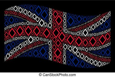 Waving Great Britain Flag Pattern of Contour Rhombus Icons