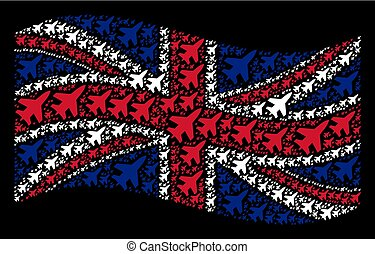 Waving Great Britain Flag Pattern of Jet Fighter Items