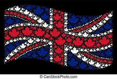 Waving Great Britain Flag Pattern of Maple Leaf Icons