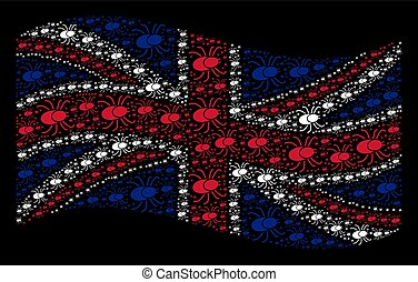 Waving Great Britain Flag Pattern of Mite Tick Items
