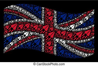 Waving Great Britain Flag Pattern of Space Ship Icons