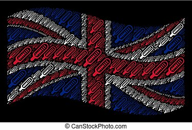 Waving Great Britain Flag Pattern of Thermometer Items