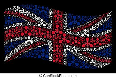 Waving Great Britain Flag Pattern of WMD Nerve Agent Chemical Warfare Icons