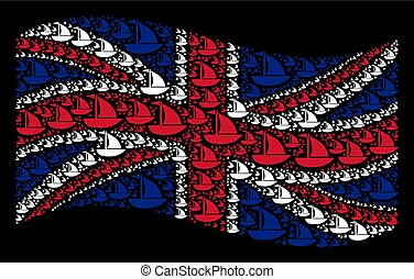 Waving Great Britain Flag Pattern of Yacht Items