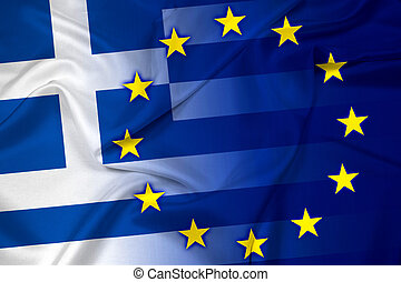 Waving Greece and European Union Flag