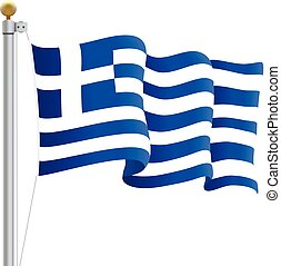 Waving Greece Flag Isolated On A White Background. Vector Illustration