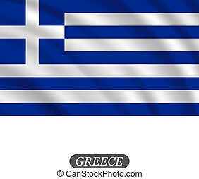 Waving Greece flag on a white background. Vector illustration