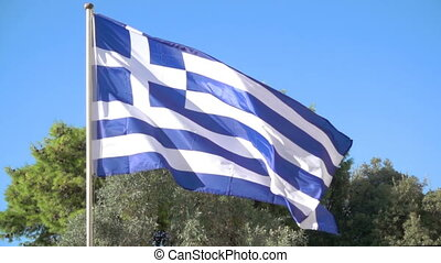 Waving greek flag - Slowmotion of waving greek flag close-up