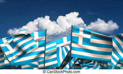 Waving Greek Flags (seamless & alpha channel)