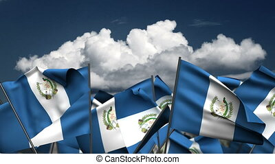 Waving Guatemala Flags (seamless & alpha channel)