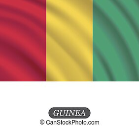 Waving Guinea flag on a white background. Vector illustration