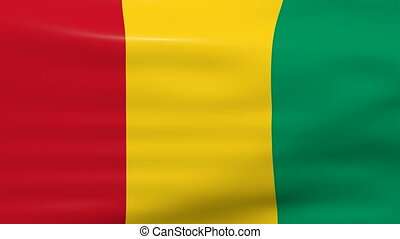 Waving Guinea Flag, ready for seamless loop.