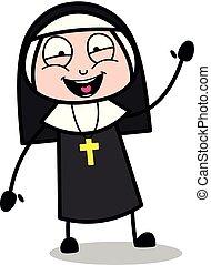Waving Hand - Cartoon Nun Lady Vector Illustration?