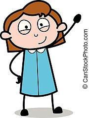 Waving Hand to Say Bye - Retro Office Girl Employee Cartoon Vector Illustration?