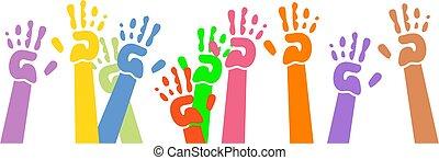 waving hands - childlike hand prints waving in the air