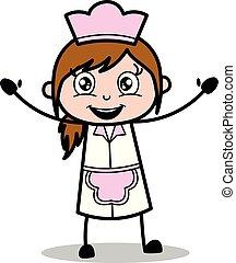 Waving Hands - Retro Cartoon Waitress Female Chef Vector Illustration